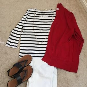 Chico's Nautical black and white strip knit top.